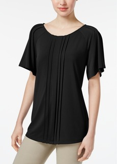 Charter Club Petite Pleated Flutter-Sleeve Top, Created for Macy's