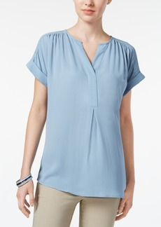 Charter Club Petite Pleated-Shoulder Top, Created for Macy's