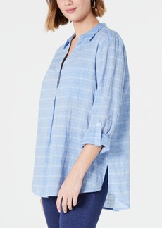 Charter Club Woven Striped Roll Tab Shirt, Created for Macy's