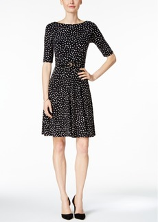 Charter Club Petite Printed Belted Fit & Flare Dress, Only at Macy's