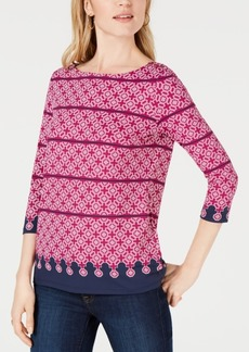 Charter Club Petite Printed Boatneck Top, Created for Macy's