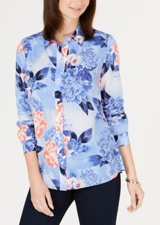 Charter Club Petite Printed Button-Front Shirt, Created for Macy's