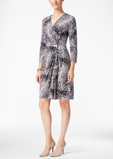 Charter Club Animal-Print Faux-Wrap Dress, Only at Macy's