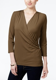 Charter Club Petite Printed Faux-Wrap Top, Created for Macy's