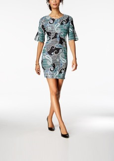 Charter Club Petite Printed Flutter-Sleeve Sheath Dress, Created for Macy's