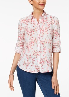 Charter Club Petite Printed Linen Button Top, Created for Macy's