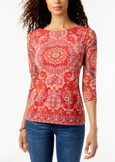 Charter Club Petite Printed Mesh Top, Created for Macy's