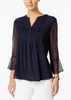 Charter Club Petite Printed Pintucked Bell-Sleeve Top, Only at Macy's