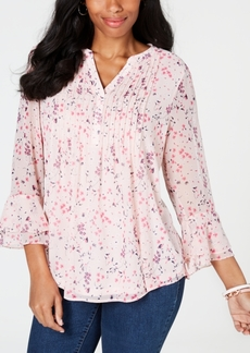 Charter Club Petite Printed Pintucked Blouse, Created for Macy's