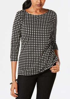 Charter Club Petite Printed Rivet-Trim Top, Created for Macy's
