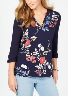 Charter Club Petite Printed Roll-Tab Sleeve Top, Created for Macy's