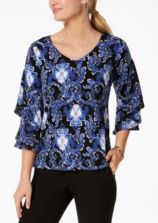 Charter Club Petite Printed Ruffle-Sleeve Top, Created for Macy's