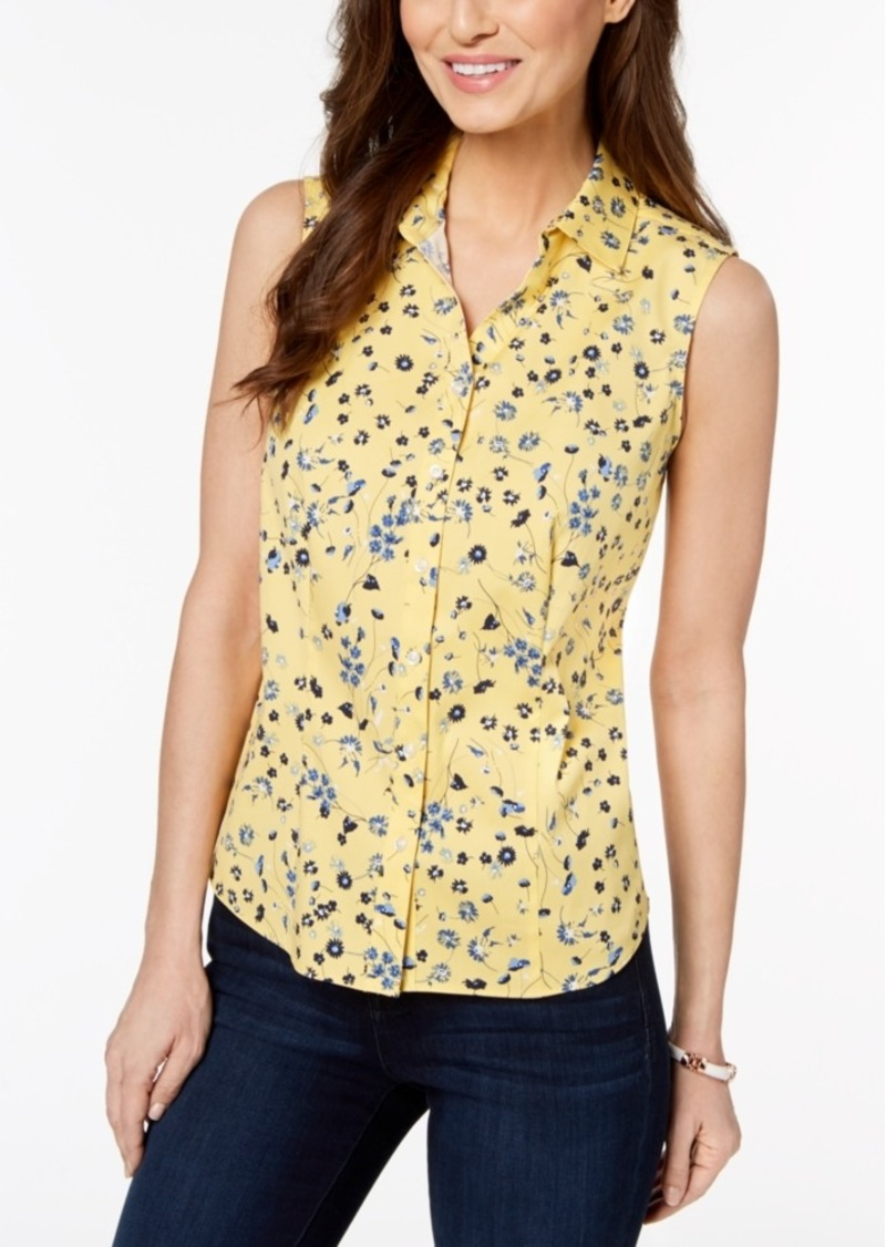 Charter Club Petite Printed Sleeveless Shirt, Created for Macy's