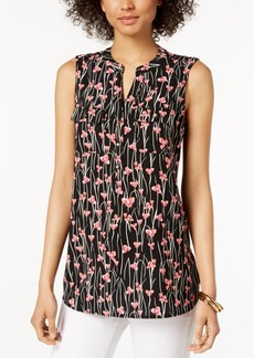 Charter Club Petite Printed Split-Neck Top, Created for Macy's