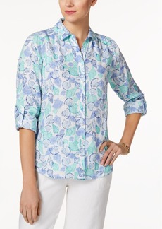 Charter Club Petite Seashell-Print Shirt, Created for Macy's