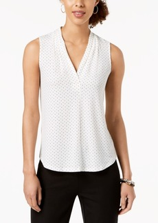 Charter Club Petite Sleeveless Dot-Print Top, Created for Macy's