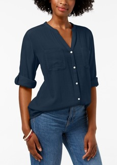 Charter Club Petite Split-Neck Utility Shirt, Created for Macy's