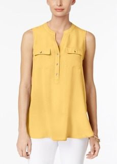 Charter Club Petite Split-Neck Utility Top, Created for Macy's