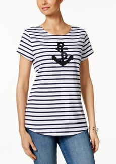 Charter Club Petite Striped Anchor Graphic Top, Created for Macy's