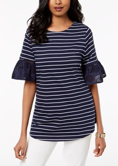 Charter Club Petite Striped Eyelet Trim Top, Created for Macy's