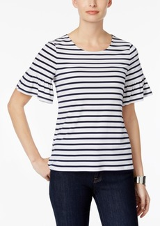 Charter Club Petite Striped Flutter-Sleeve Top, Created for Macy's