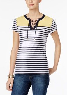 Charter Club Petite Striped Lace-Up Top, Created for Macy's