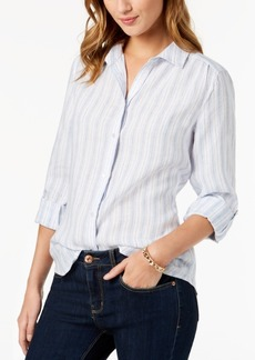 Charter Club Petite Striped Linen Shirt, Created for Macy's