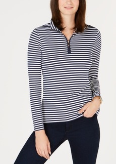 Charter Club Petite Striped Mock-Neck Top, Created for Macy's