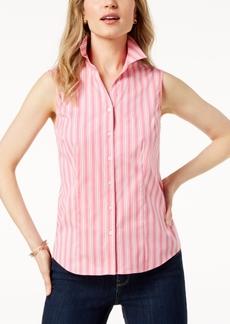 Charter Club Petite Striped Sleeveless Shirt, Created for Macy's
