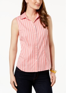 Charter Club Petite Striped Sleeveless Shirt, Created for Macy's