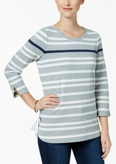 Charter Club Petite Striped Tie-Detail Top, Created for Macy's