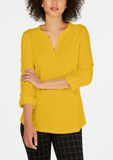 Charter Club Petite Supima Cotton Split-Neck Top, Created for Macy's