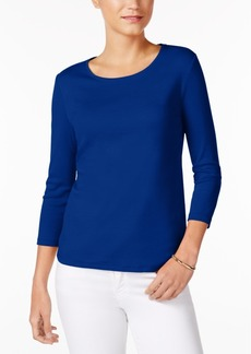 Charter Club Petite Three-Quarter-Sleeve Top, Created for Macy's