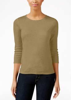 Charter Club Petite Three-Quarter-Sleeve Top, Created for Macy's
