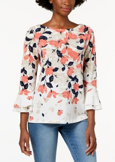 Charter Club Printed Flare-Sleeve Blouse, Created for Macy's