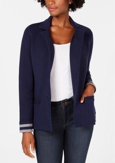 Charter Club Petite Turnback-Sleeve Sweater Blazer, Created for Macy's