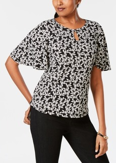 Charter Club Petite Vine-Print Flutter-Sleeve Top, Created for Macy's