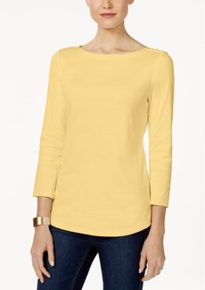 Charter Club Pima Cotton Boat-Neck Button-Shoulder Top, Created for Macy's