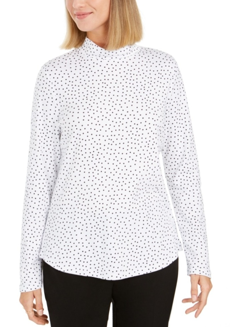 Charter Club Pima Cotton Mock-Neck Top, Created For Macy's