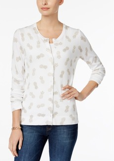 Charter Club Pineapple-Print Cardigan, Created for Macy's