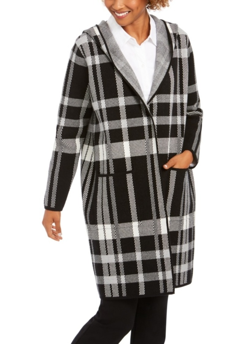 Charter Club Petite Plaid Hooded Coat, Created For Macy's