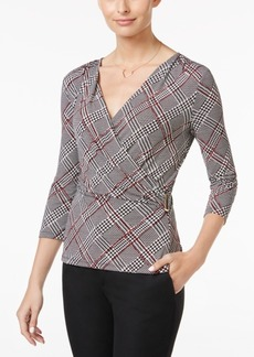 Charter Club Plaid Faux-Wrap Top, Only at Macy's