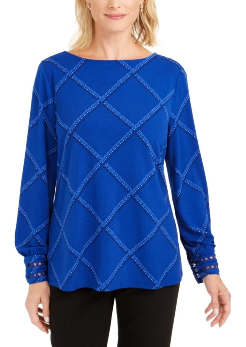 Charter Club Plaid Knit Top, Created for Macy's