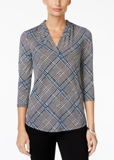 Charter Club Plaid V-Neck Top, Only at Macy's