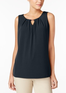 Charter Club Pleated Keyhole Top, Created for Macy's