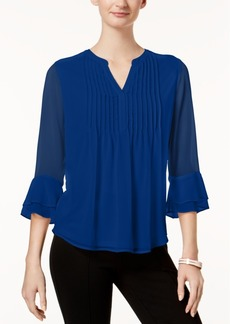 Charter Club Pleated Sheer Blouse, Created for Macy's
