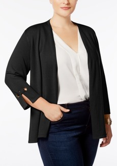 Charter Club Plus Size 3/4-Sleeve Swing Cardigan, Created for Macy's