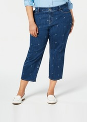 Charter Club Plus Size Anchor-Embroidered Cropped Jeans, Created for Macy's