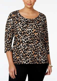 Charter Club Plus Size Animal-Print Top, Only at Macy's