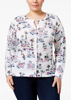 Charter Club Plus Size Beaded Bicycle-Print Cardigan, Only at Macy's